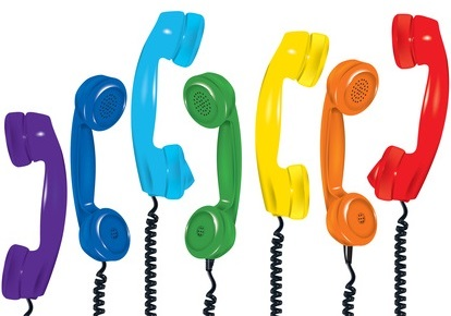 contact us, colourful phones handsets hanging